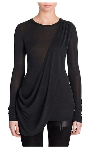 Unravel Project silk jersey draped t-shirt in black
