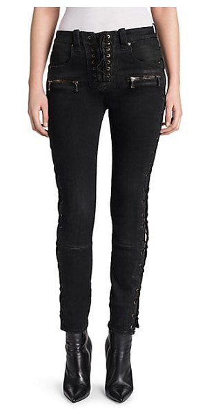 Unravel Project wax denim lace-up skinny jeans in black - Crafted in Italy from waxed denim, Ben Taverniti Unravel...
