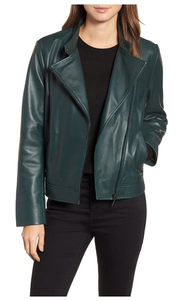 Bernardo clean leather jacket in deep green - Minimal detailing lets the quality, supple leather take...