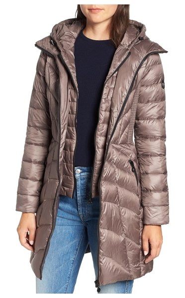 Bernardo glossy quilted walker coat in antique/ black - Plush quilting that angles to the waistline joins...