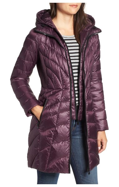 Bernardo glossy quilted walker coat in black - Plush quilting that angles to the waistline joins...