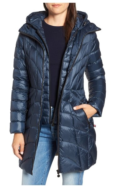 Bernardo glossy quilted walker coat in deep water/ warm storm - Plush quilting that angles to the waistline joins...