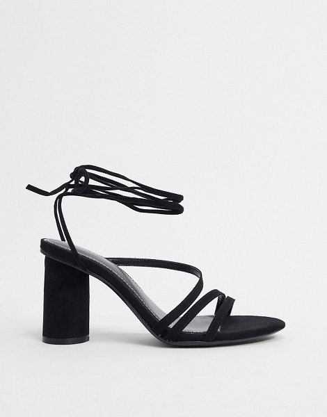 Bershka heel with ankle tie in black in black