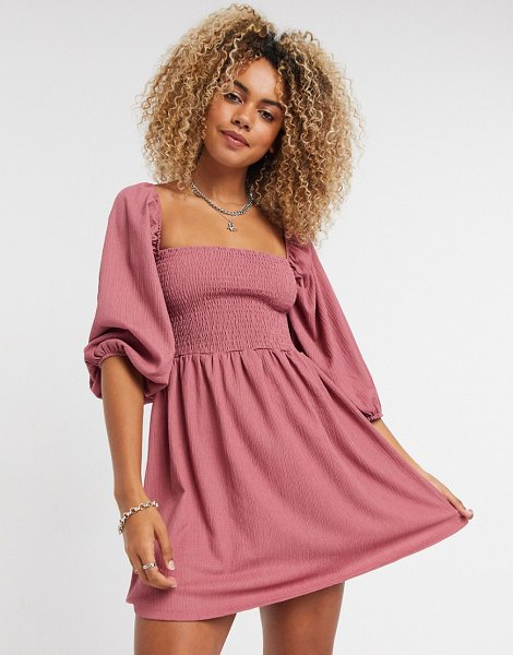 Bershka shirred mini dress in dusky pink in pink