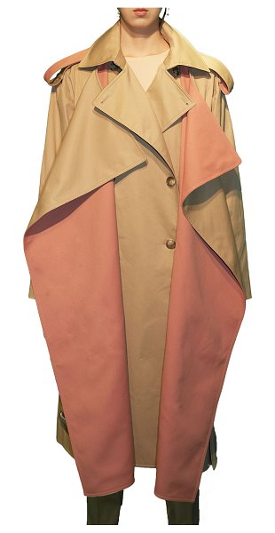 BESFXXK Two-Tone Layered Trench Coat in beige