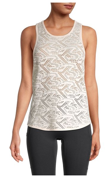 Betsey Johnson Performance Open-Mesh Knit Tank Top in peony