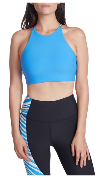 Betsey Johnson Performance Triangle Looped Extended Sports Bra in blue