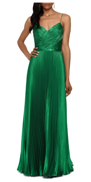 Betsy & Adam crisscross pleated satin a-line gown in emerald