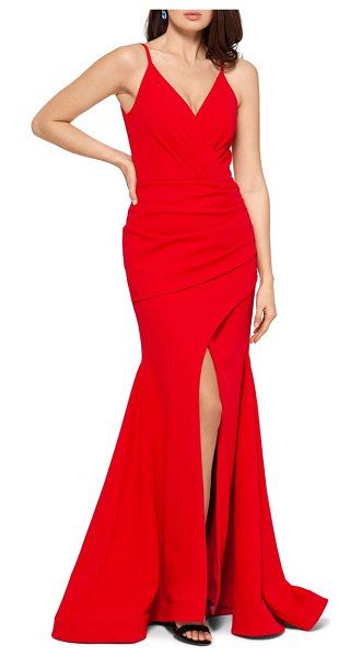 Betsy & Adam front slit trumpet gown in red