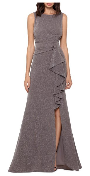 Betsy & Adam ruffle front metallic knit gown in taupe/ silver