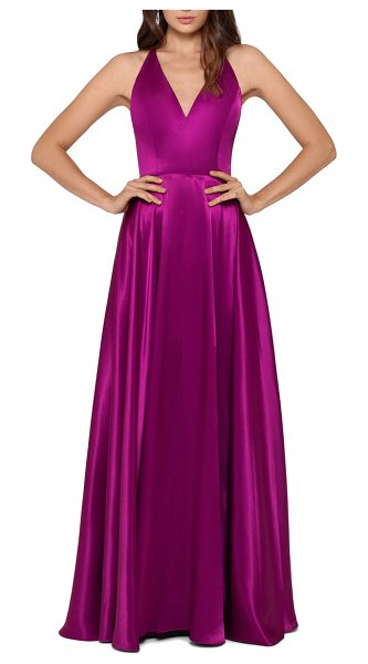 Betsy & Adam tie back satin princess gown in orchid