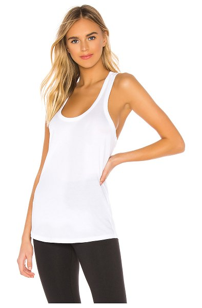 Beyond Yoga All About It Racerback Tank in white - 100% pima cotton. Lightweight jersey fabric. Made in...