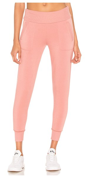 Beyond Yoga Foldover Long Sweatpant in pink - Modal blend. Fleece fabric. Ribbed foldover waist and...