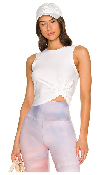 Beyond Yoga front twist muscle tank in cloud white