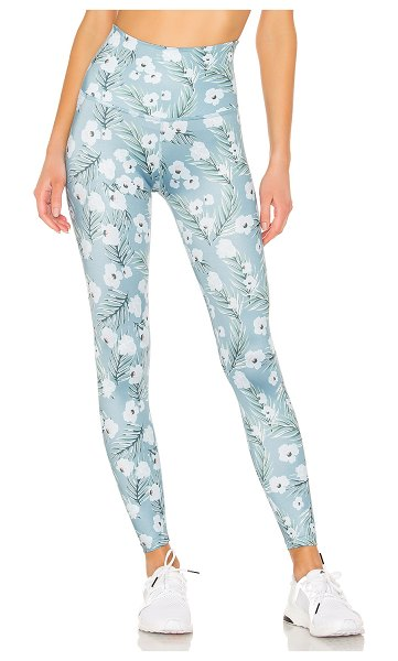 Beyond Yoga Lux Print High Waisted Midi Legging in blue - Spandex blend. Stretch fit. Made in USA. BEYR-WP77....