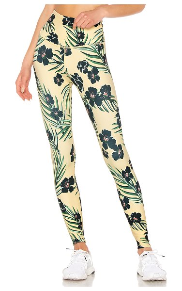 Beyond Yoga Olympus High Waisted Legging in yellow - 75% poly 25% spandex. Stretch fit. Made in USA....