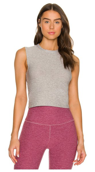 Beyond Yoga ruched down cropped tank in silver mist