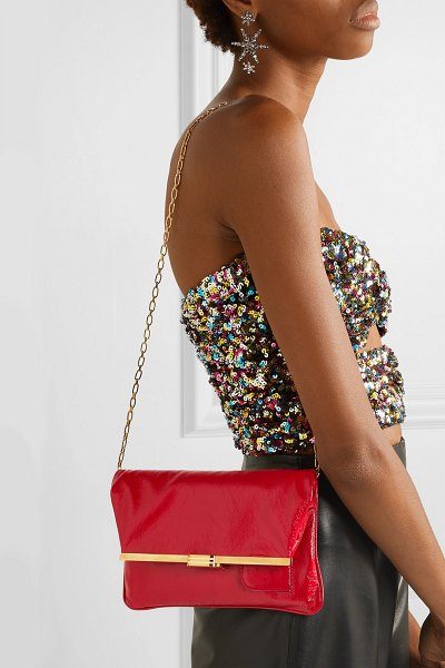 BIENEN-DAVIS pm glossed textured-leather clutch in red