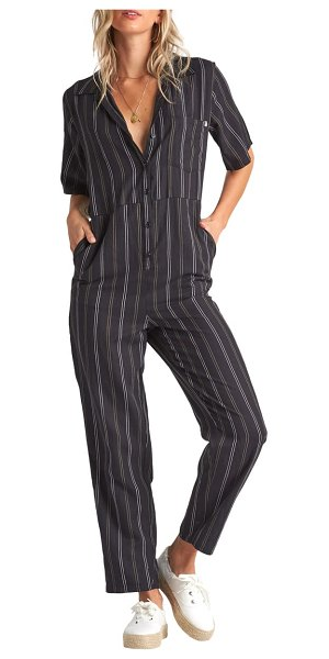 Billabong hit the highway straight leg jumpsuit in black multi
