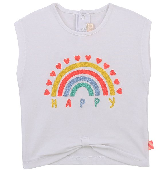 Billieblush Infant Girls' Baby Short-Sleeve Tee W Tie Front And Happy Rainbow Print in white