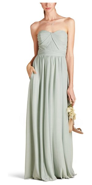 BIRDY GREY chicky convertible neck tulle gown in sage