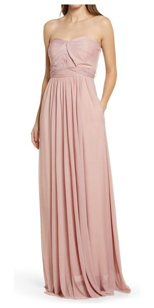 BIRDY GREY chicky convertible neck tulle gown in rose quartz