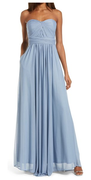 BIRDY GREY chicky convertible neck tulle gown in dusty blue