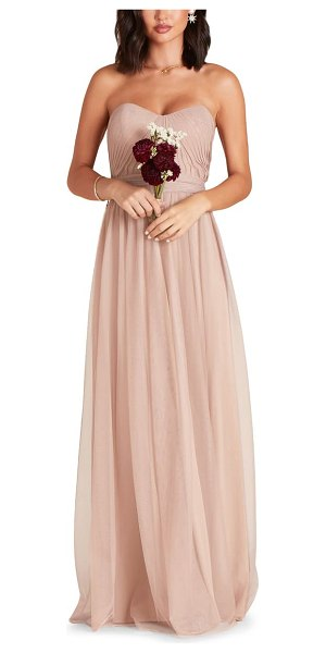 BIRDY GREY christina convertible tulle gown in sandy taupe