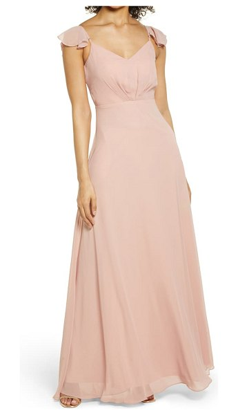 BIRDY GREY flutter sleeve chiffon gown in rose quartz