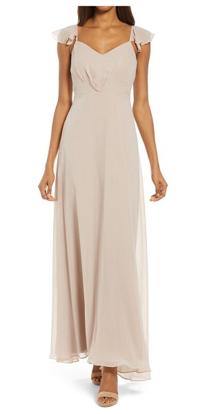 BIRDY GREY flutter sleeve chiffon gown in taupe