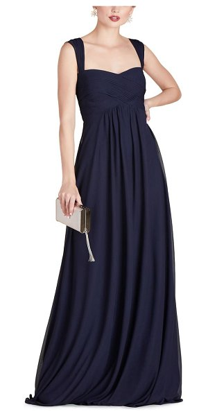 BIRDY GREY maria convertible sleeve tulle gown in navy