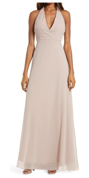 BIRDY GREY moni convertible halter neck chiffon gown in taupe