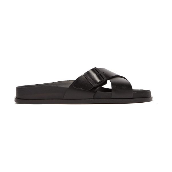 Birkenstock birkenstock 1774 - sienna crossover leather slides in black