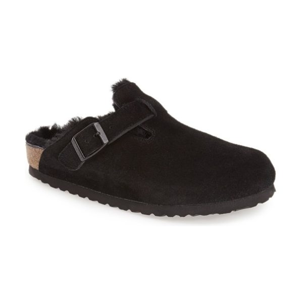 Birkenstock boston genuine shearling lined clog in black