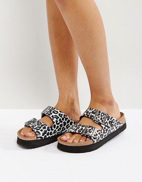 BIRKENSTOCK Papillio by  Arizona Birko Leo White Platform Sandals - Sandals by Birkenstock, Faux-leather upper, Leopard...