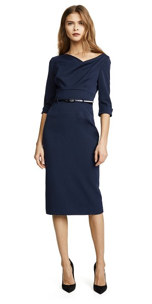 Black Halo 3/4 sleeve jackie o dress in eclipse