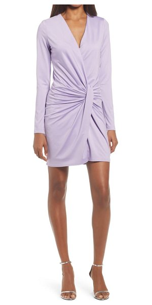 Black Halo abina ruched long sleeve minidress in light lavender