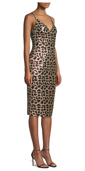 Black Halo Amorie Leopard Sequin Sheath Dress in cleopatra