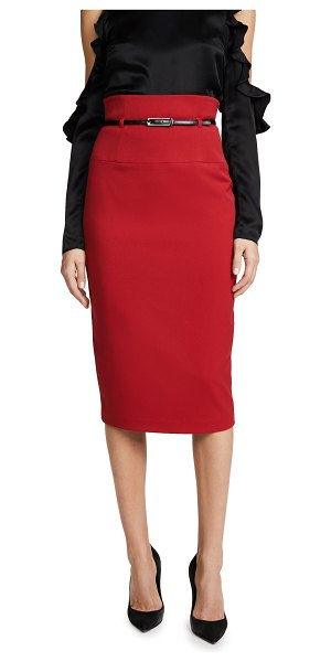 Black Halo high waisted pencil skirt in red