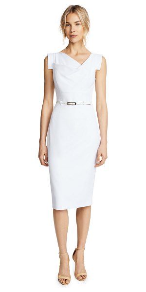 Black Halo jackie o belted dress in white