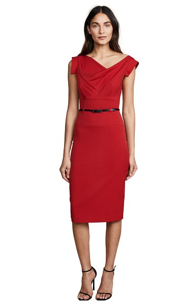 Black Halo jackie o belted dress in red