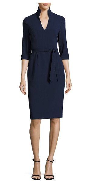 Black Halo madeline tie-front sheath dress in black,pacific blue