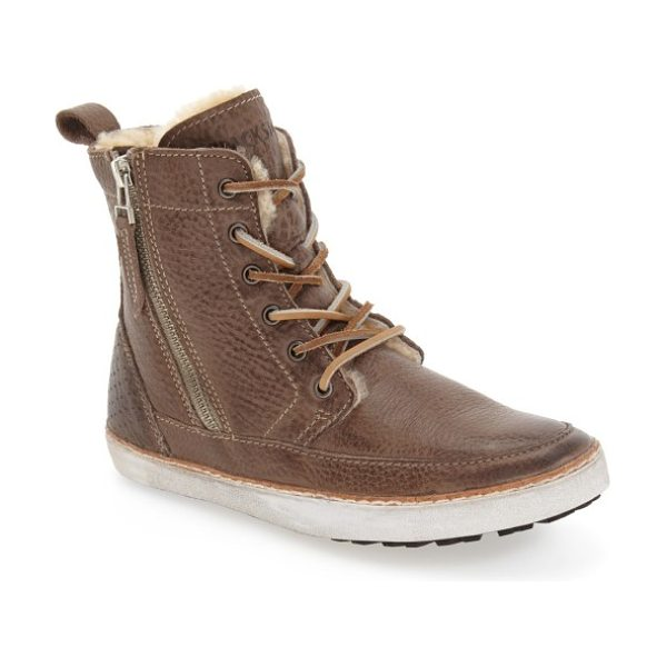 Blackstone 'cw96' genuine shearling lined sneaker boot in gull leather