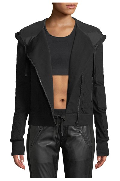Blanc Noir French Terry Mesh Zip-Front Moto Jacket in black - Blanc Noir moto jacket in French terry with quilted...