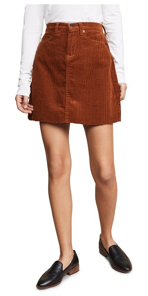 Blank Denim corduroy mini skirt in clockwork copper - Fabric: Corduroy Raw hem Mini dress cut Hidden zip at...