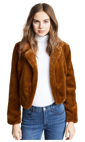 Blank Denim cropped faux fur jacket in milk chocolate - Fabric: Faux fur Open silhouette Cropped profile...