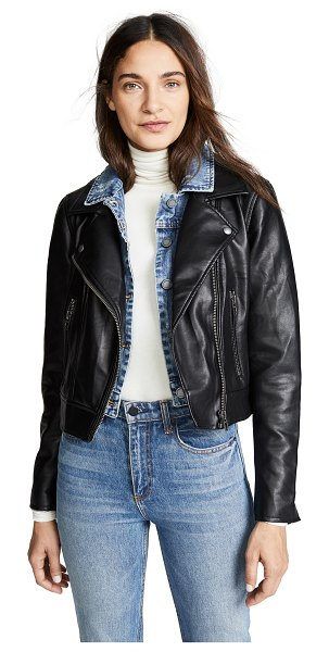 Blank Denim double layered moto & denim jacket in the cool kid - Fabric: Faux leather Asymmetric zip Zips at cuffs Snaps...