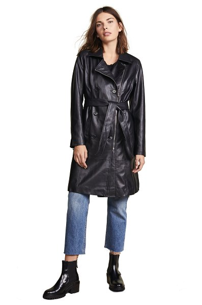 Blank Denim vegan leather trench coat in the punisher - Fabric: Faux leather Exposed zippers at sleeves Collared...