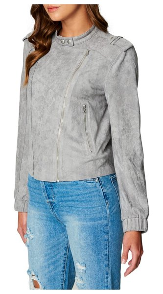 BLANK NYC faux suede moto bomber in vapor