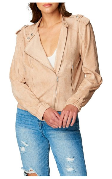 BLANK NYC faux suede moto bomber in sand dune